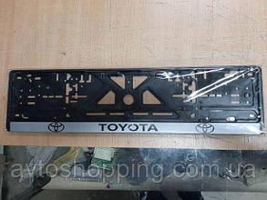 Рамка под номер с надписью Toyota, Рамка Черная, рамка для номера