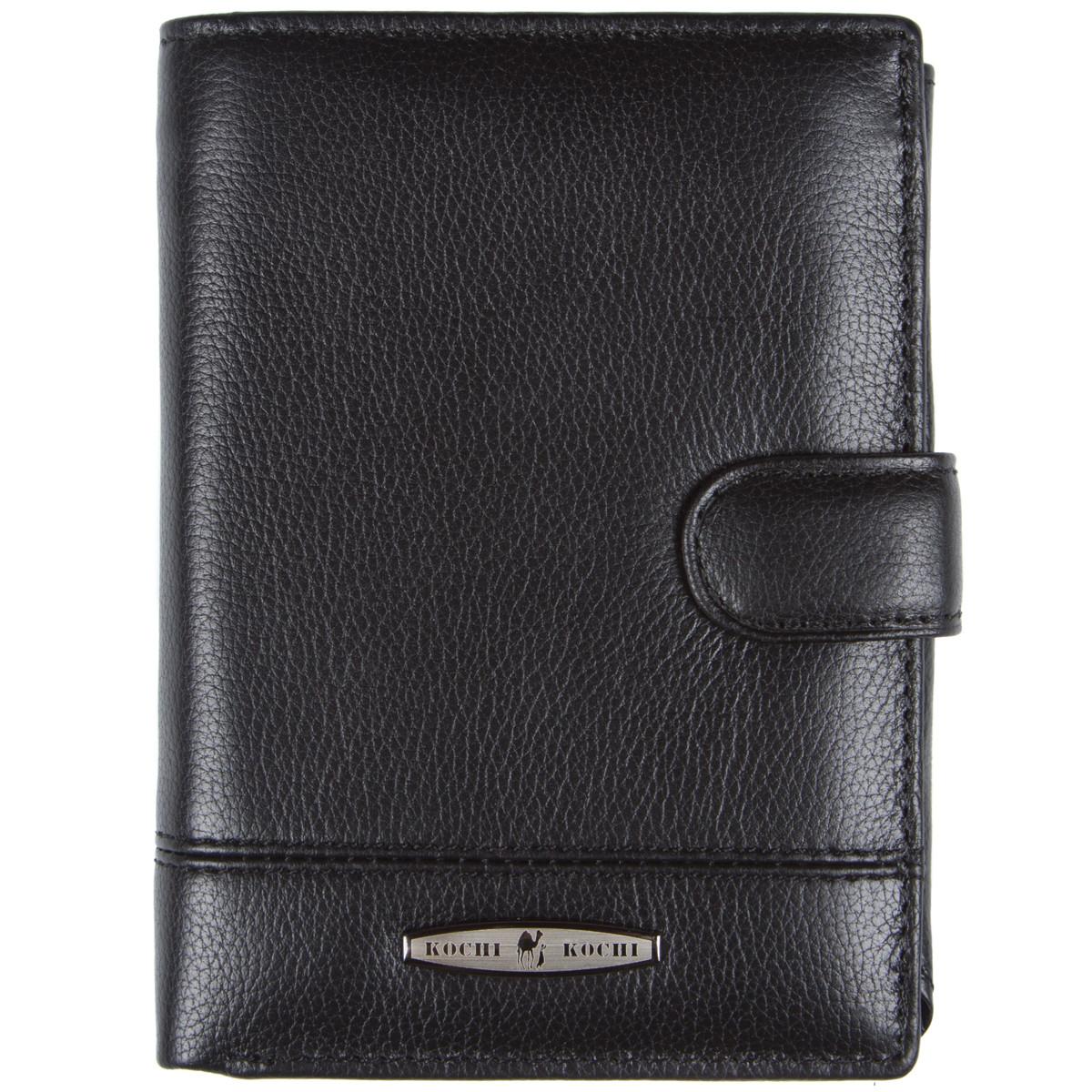 Бумажник мужской кожаный KOCHI 100х140х25 застёжка кнопка  м К227Д-12Н09ч
