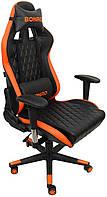Геймерское раскладное кресло для геймеров Bonro 1018 эко кожа геймерский стул компьютерный игровой оранжевый