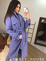 Жіноче Жіночі пальто на запах з вовни з поясом і відкладним коміром 5mpa265