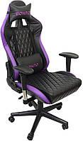 Геймерское раскладное кресло для геймеров Bonro 1018 эко кожа геймерский стул компьютерный игровой фиолетовый