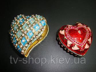 Шкатулка ювелирная Сердце красное (металл,эмаль,стразы )