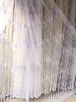 Тюль в 5 ряда вышивки для кухни, спальни на основе фатиновой сетки №1280 Цвет: Белый