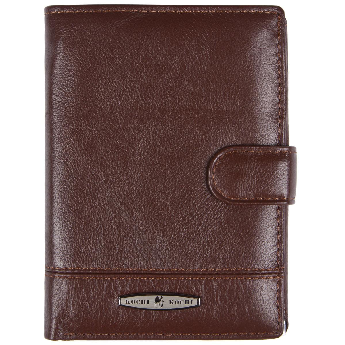 Бумажник мужской кожаный KOCHI 100х140х25 застёжка кнопка коричневый м К227Д-12Н09кор