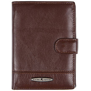 Бумажник мужской кожаный KOCHI 100х140х25 застёжка кнопка коричневый м К227Д-12Н09кор, фото 2