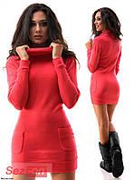Платье женское короткое с карманами по боках - Коралловый