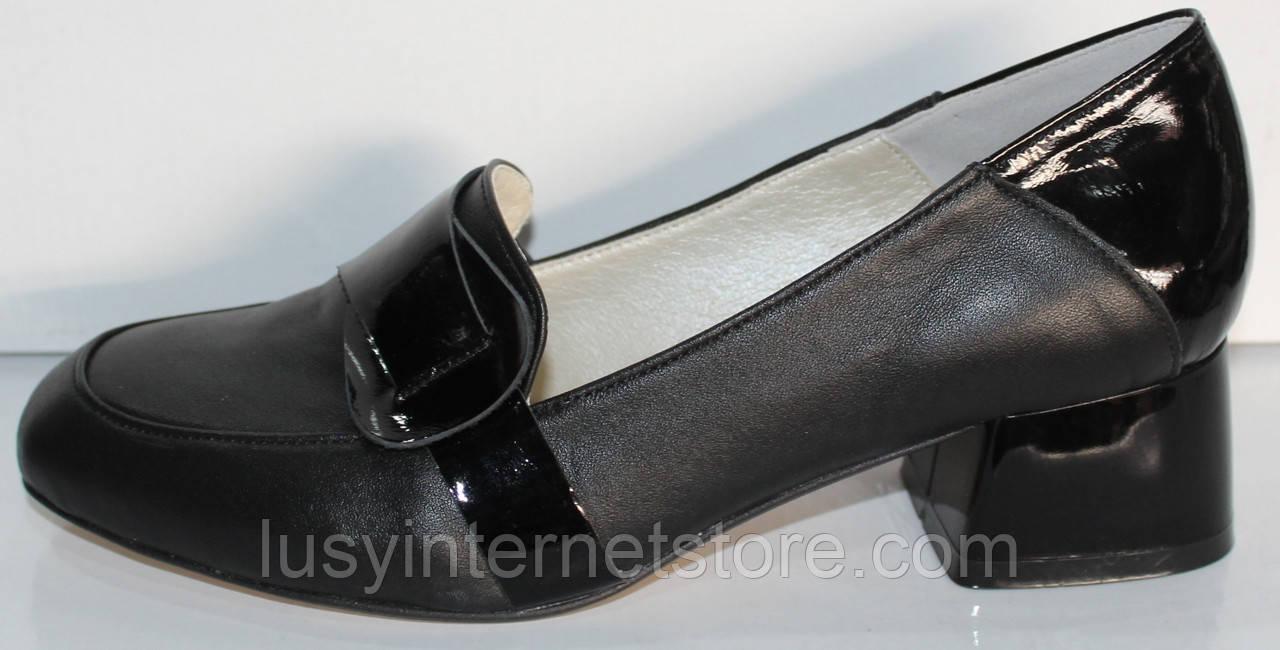 Туфли женские кожаные на среднем каблуке от производителя модель КЛ2040
