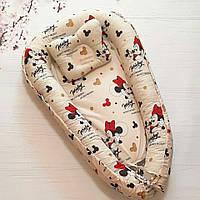 Детский позиционер для сна, гнездышко кокон для новорожденных. АКЦИЯ + ПОДУШКА В ПОДАРОК!