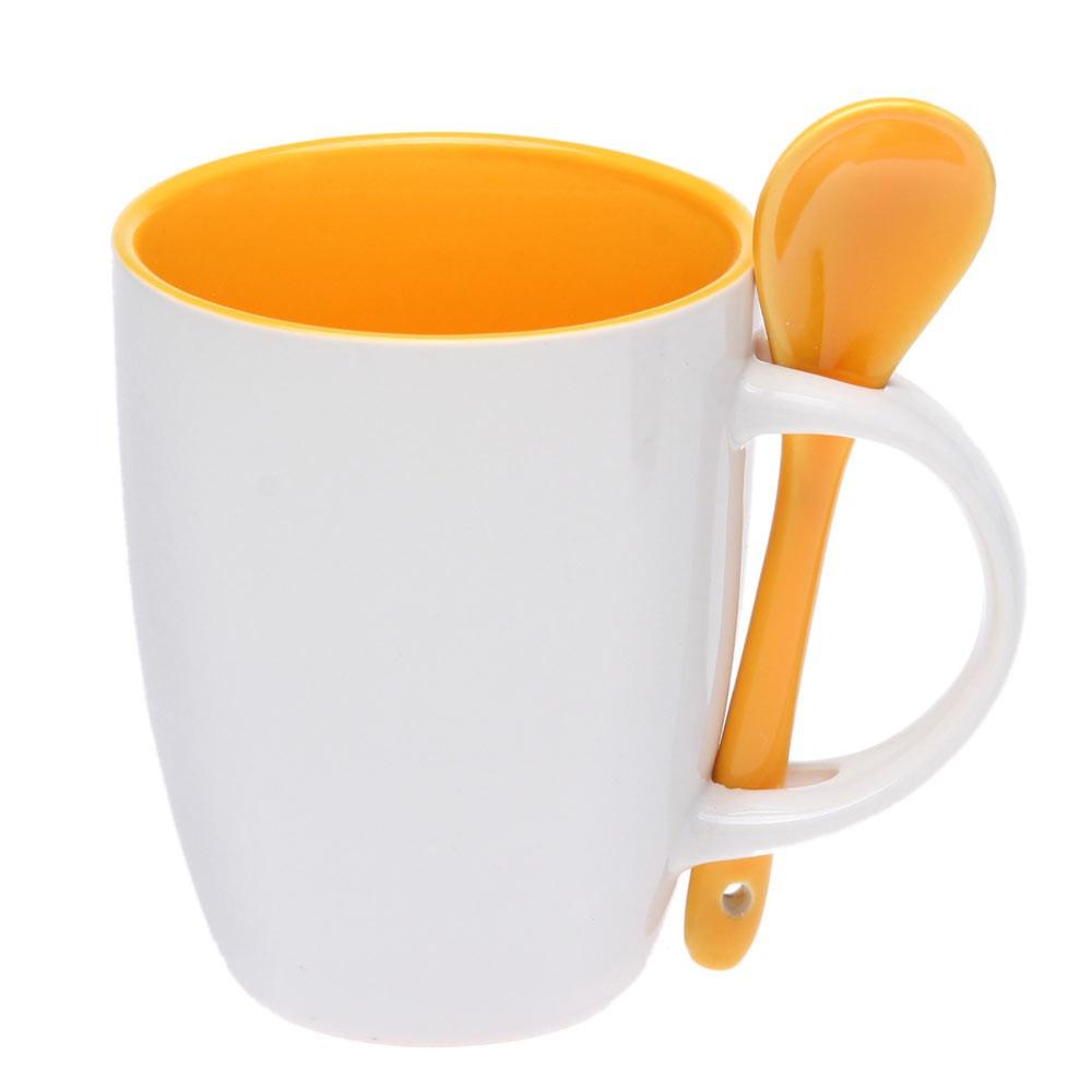 Чашка керамическая с ложкой, цвет внутри, 300мл, цвет Желтый