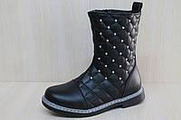 Черные полусапожки на девочку, демисезонная обувь тм YTop р.29