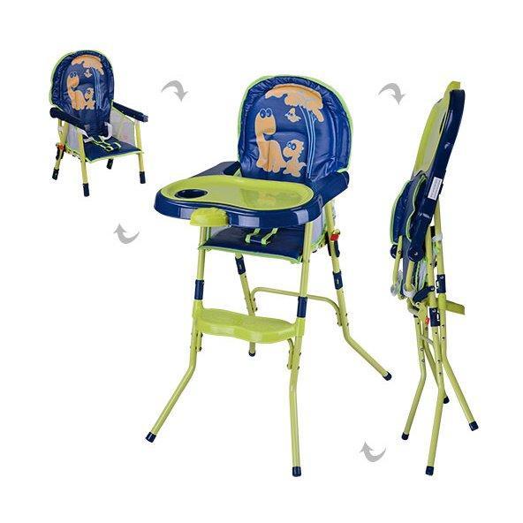 HC100A Стульчик GREEN  для кормления, 2 в 1 (стульчик), 3-х точ. рем. безоп, сине-зеленый-желтый