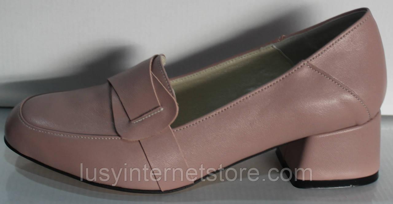 Туфли женские кожаные на среднем каблуке от производителя модель КЛ2040-1