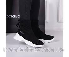 Кроссовки  женские  демисезонные  черные  носки