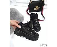 Женские кроссовки высокие на платформе со шнуровкой, фото 1