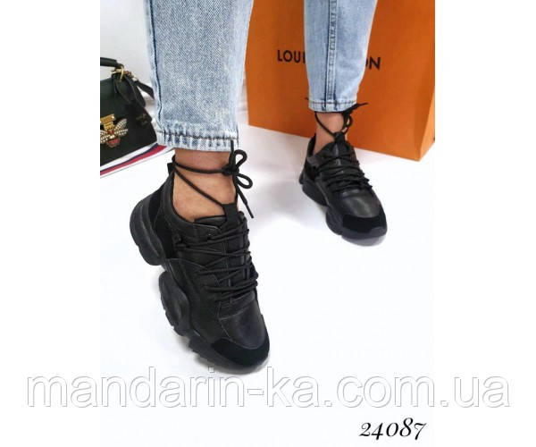 Женские кроссовки Vintage вставки экозамши