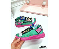 Разноцветные женкие кроссовки на шнуровке, фото 1