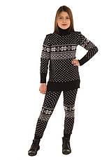 """Вязаный шерстяный свитер - туника """"Снежинка"""", цвет черный, на рост 110 - 116 см, фото 2"""