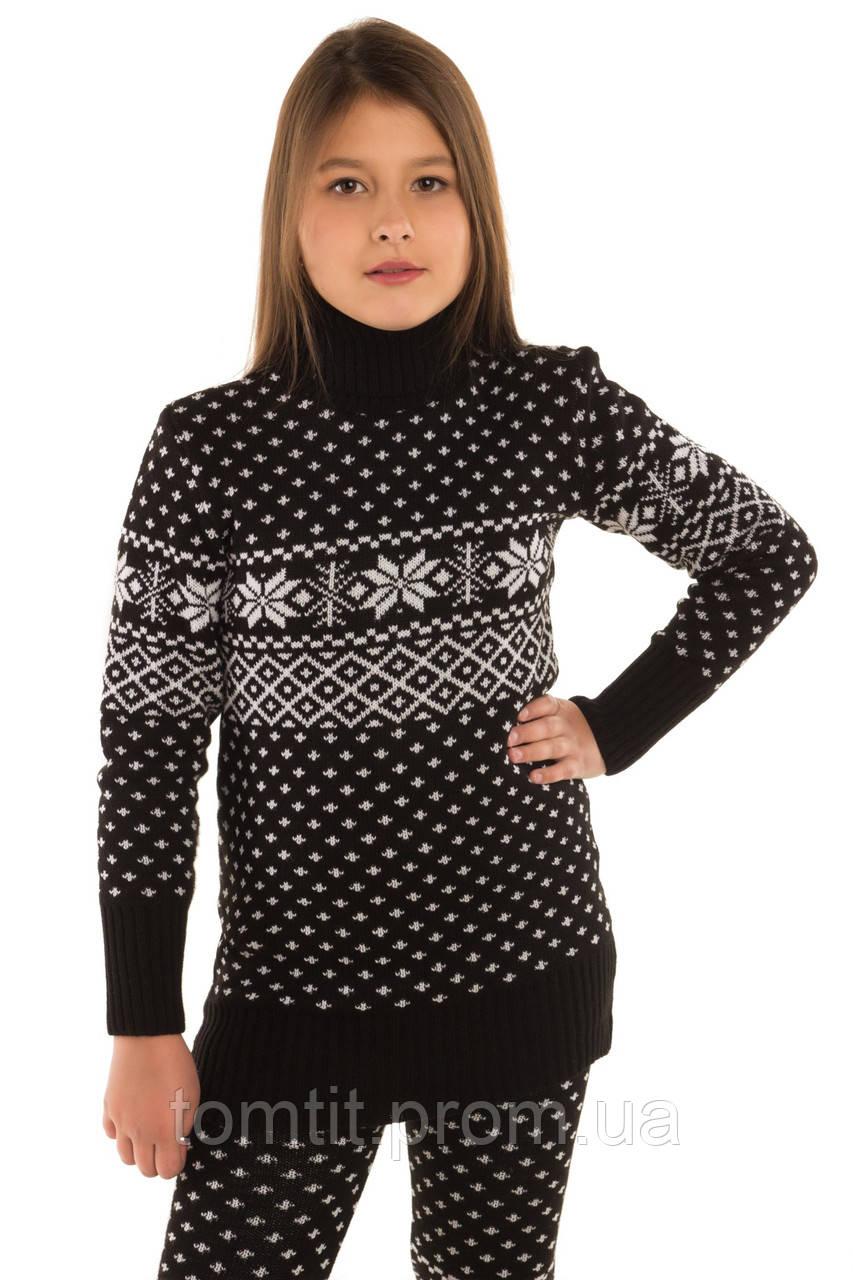 """Вязаный шерстяный свитер - туника """"Снежинка"""", цвет черный, на рост 110 - 116 см"""