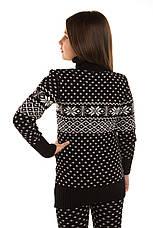 """Вязаный шерстяный свитер - туника """"Снежинка"""", цвет черный, на рост 110 - 116 см, фото 3"""