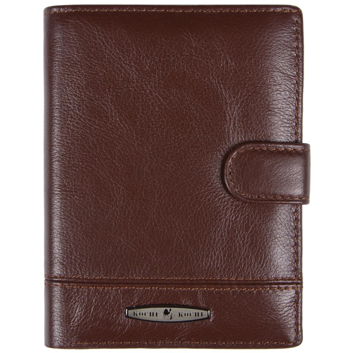 Бумажник кожаный мужской коричневый KOCHI  105х140х25 застёжка кнопка  м К265Д-12Н09к