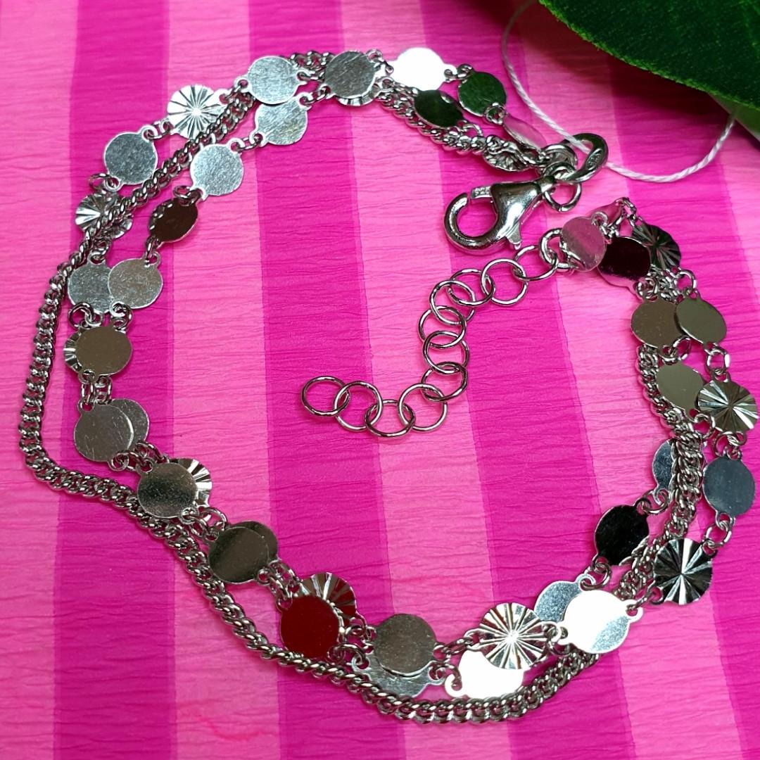Тройной серебряный браслет с монетками - Стильный серебряный родированный браслет Монетки