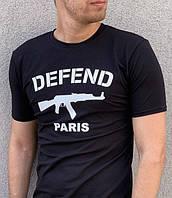 Черная футболка в стиле Defend Paris топ