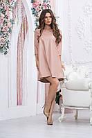 Стильне плаття еко шкіра А-силуету міні, рукав 3/4 (44-52), фото 1