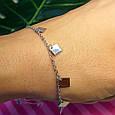 Серебряный браслет с висюльками - Серебряный родированный браслетик с ромбами, фото 2