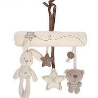 Подвесные мягкие плюшевые игрушки погремушки на коляску или кроватку (кролик, медвежонок и звездочки)