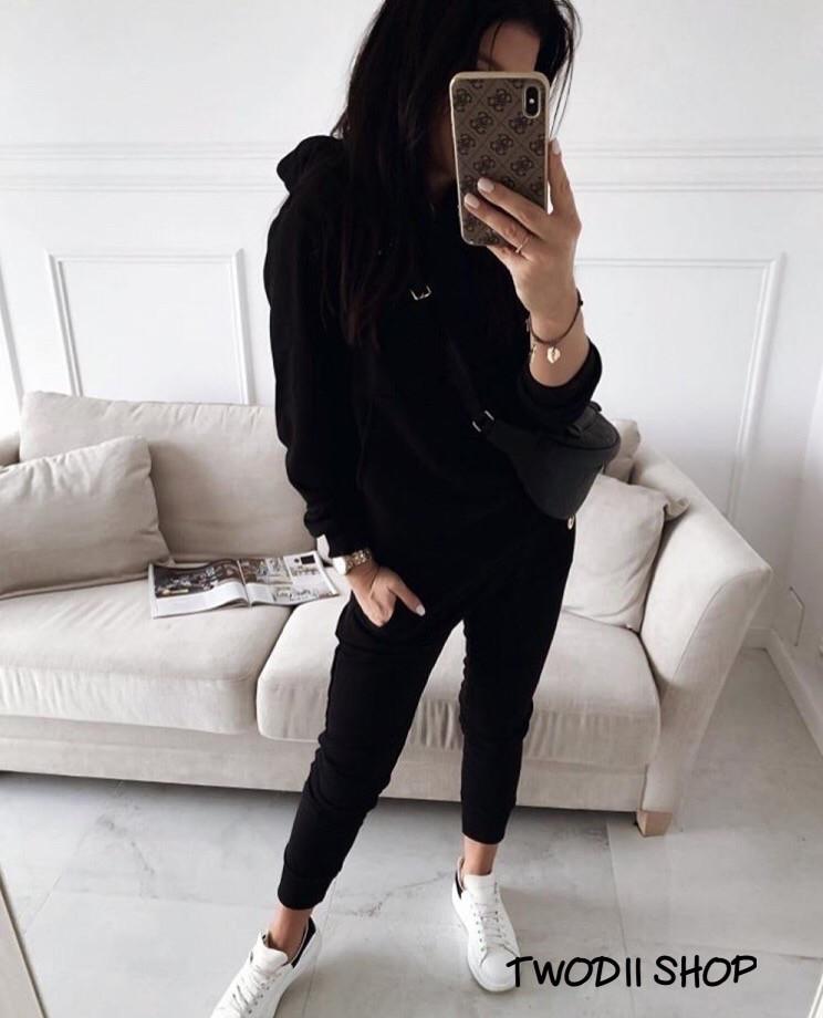 Женский модный спортивный костюм с капюшоном,черного цвета