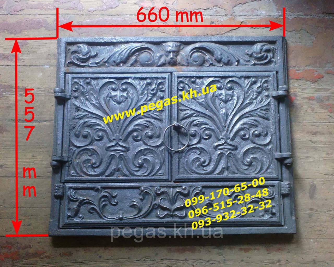 Камин чугунный фасад с дверями, чугунное литье