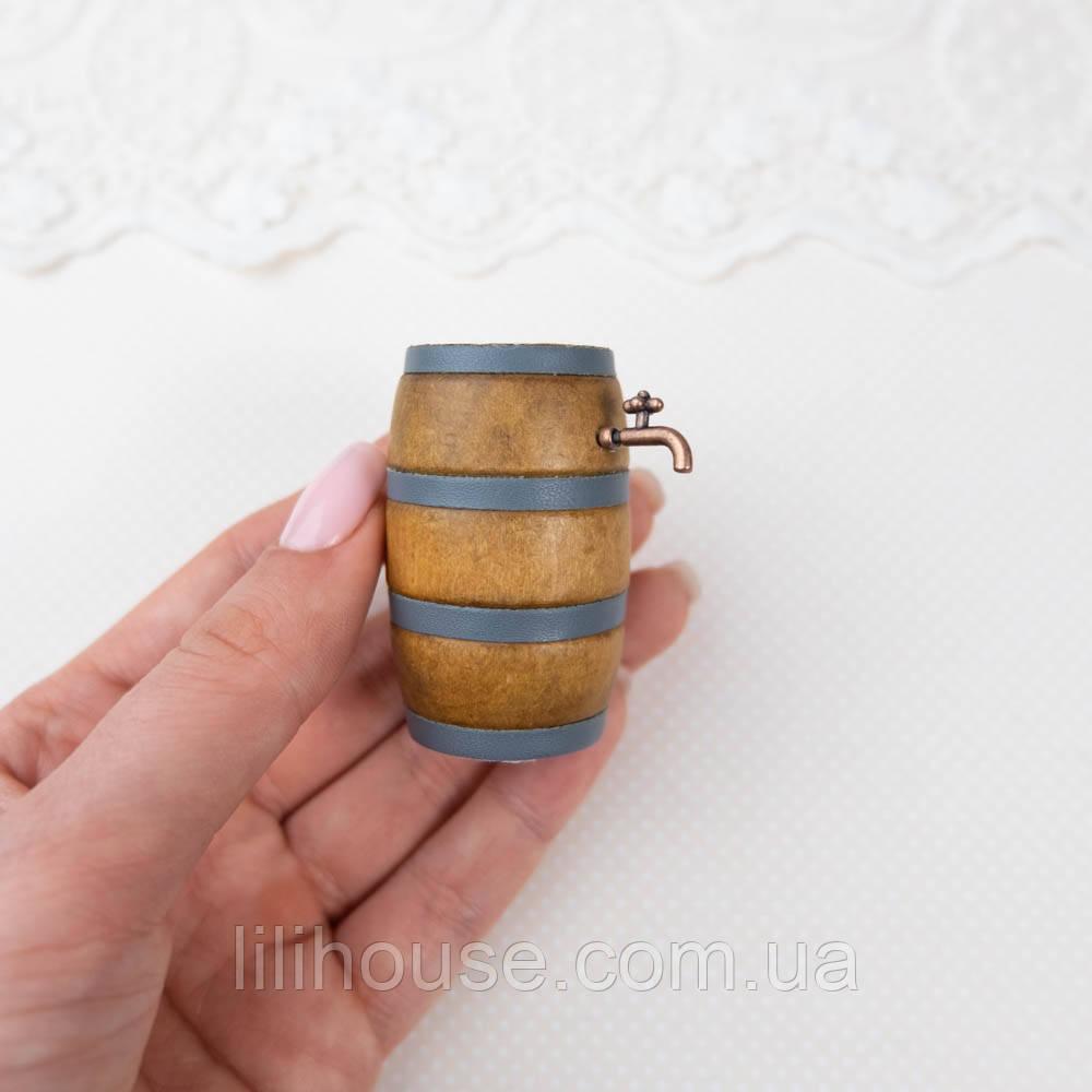1:12 Миниатюра Бочка винная, деревянная с краником, 5.5 см