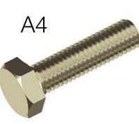 Болт М10х40 из нержавеющей стали А4 DIN 933 с шестигранной головкой