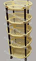 Напольная этажерка из пластика для ванной и кухни EFE Plastics 5 ярусов бежево-коричневая