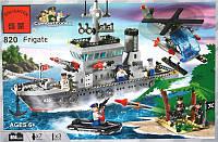 Конструктор Brick Enlighten Зона боевых действий/Морская серия 820 (Военный корабль - фрегат)