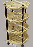 Этажерка из пластика органайзер для ванной и кухни EFE Plastics 4 яруса бежево-коричневая