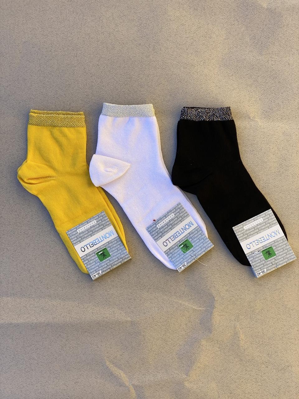 Жіночі шкарпетки з люрексом носки стрейчеві Montebello 35-40 12 шт в уп білі жовті червоні сині
