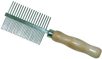 Расческа двусторонняя с деревянной ручкой густой и редкий зуб, 5,3х17,5 см