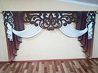 Ажурний ламбрекен комбінований 2,5 м тканина: батист; колір: коричневий+білий
