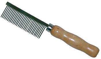 Расческа редкий зуб с деревянной ручкой, 3,5х17 см