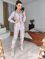 Спортивный женский костюм из плащевки хамелеон с укороченным бомбером 66msp855Q