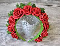 Обруч с красными цветами розами - 175 грн
