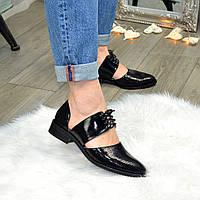 Стильные женские туфли на шнуровке, натуральная замша и лак