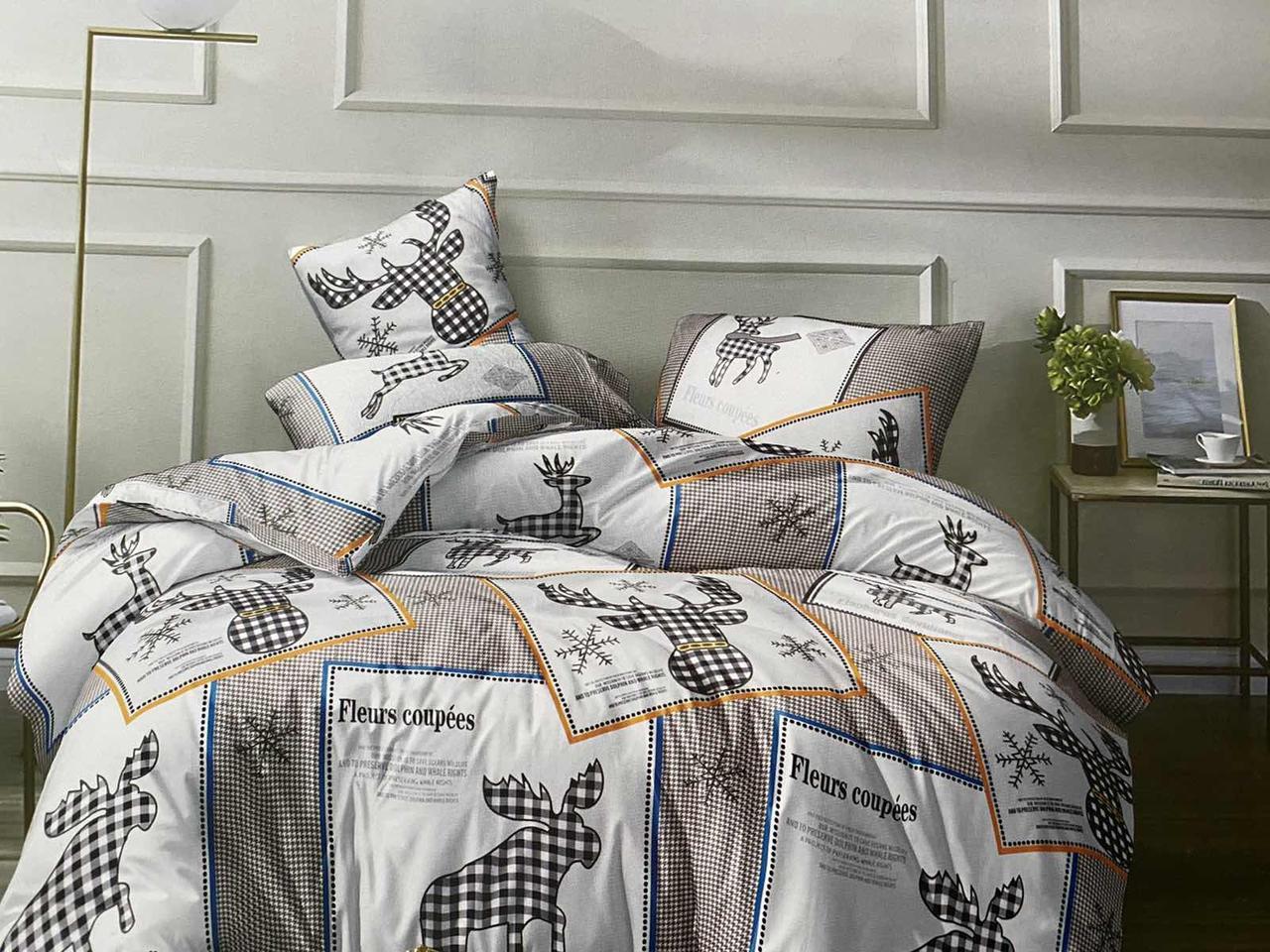Двуспальный комплект постельного белья евро 200*220 хлопок  (13916) TM KRISPOL Украина