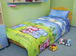 """Комплект постельного белья подростковый """"Слоники"""" недорого от производителя, бязь."""