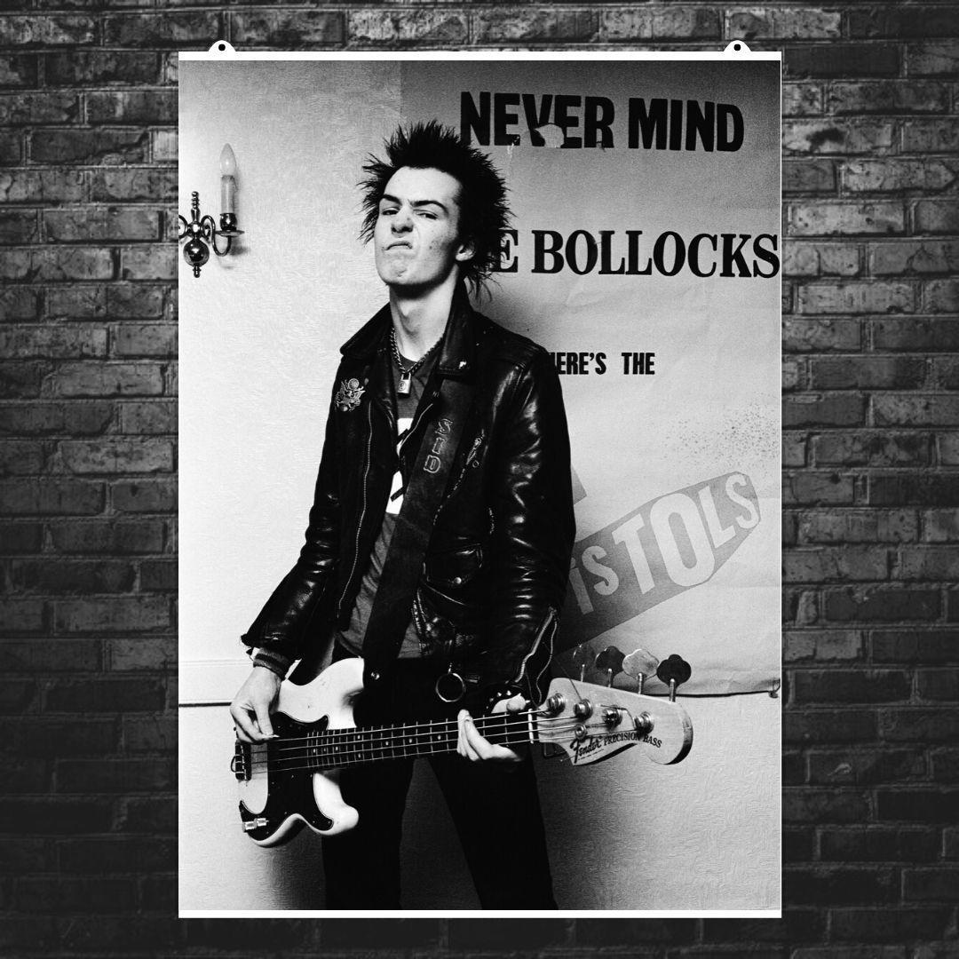 "Постер ""Sex Pistols. Сид Вишес с гитарой"". Sid Vicious, Секс Пистолс, панк, ретрофото. Размер 60x43см (A2). Глянцевая бумага"