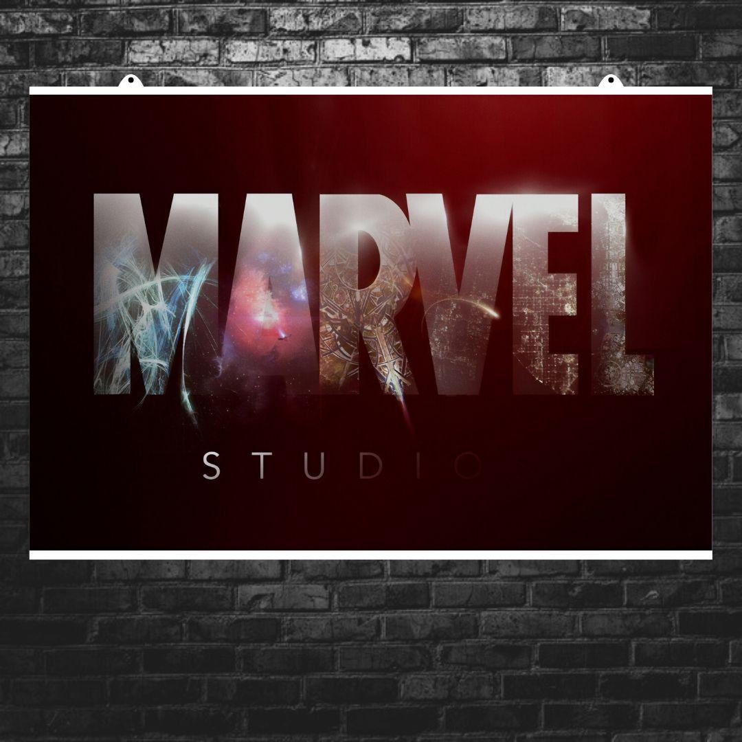 "Постер ""Логотип Марвел с текстурой"", Marvel. Размер 60x40см (A2). Глянцевая бумага"