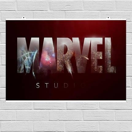 "Постер ""Логотип Марвел с текстурой"", Marvel. Размер 60x40см (A2). Глянцевая бумага, фото 2"