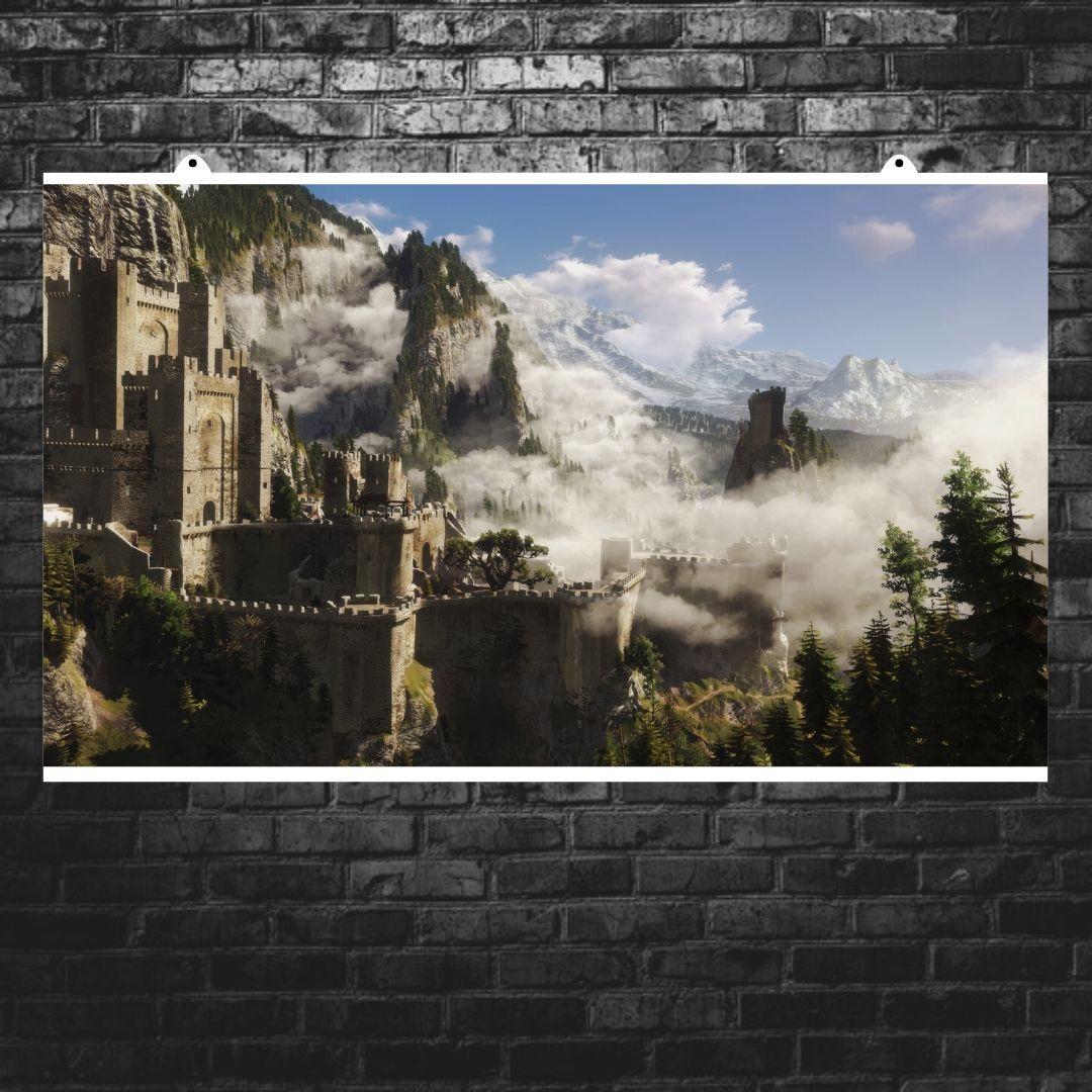 "Постер ""Ведьмак. Замок в тумане"". Witcher, фэнтези. Размер 60x35см (A2). Глянцевая бумага"