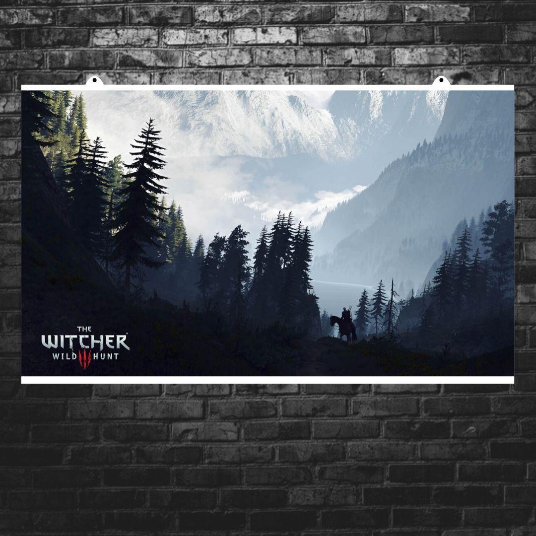 """Постер """"Ведьмак. Сумерки и горы"""". Witcher, фэнтези. Размер 60x35см (A2). Глянцевая бумага"""